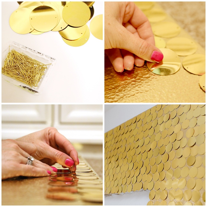 decoración de paredes con lentejuelas en color dorado, manualidades decoracion para fiestas