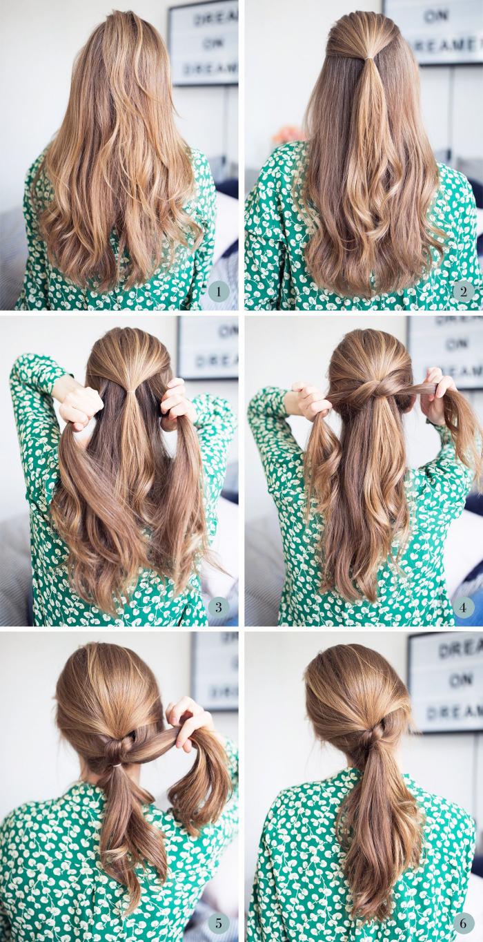 peinados faciles pelo largo en fotos con los pasos para hacerlos en casa, recogido elegante y fácil de hacer