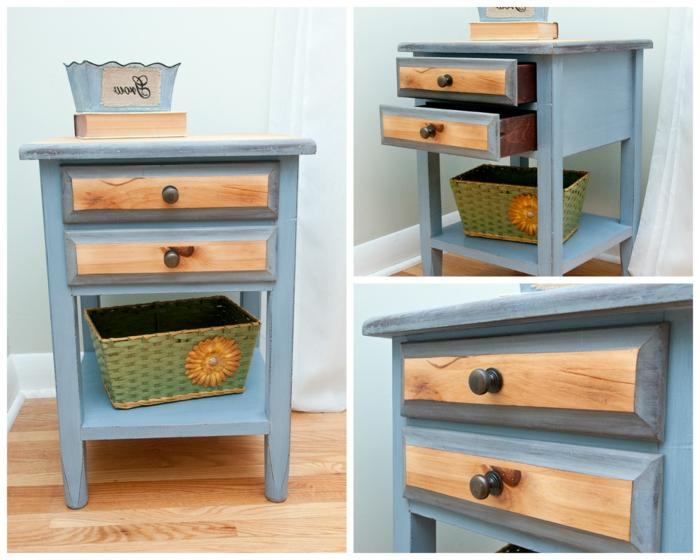 imagines de muebles de madera restaurados, restaurar muebles de madera, pequeña mesa pintada en azul claro