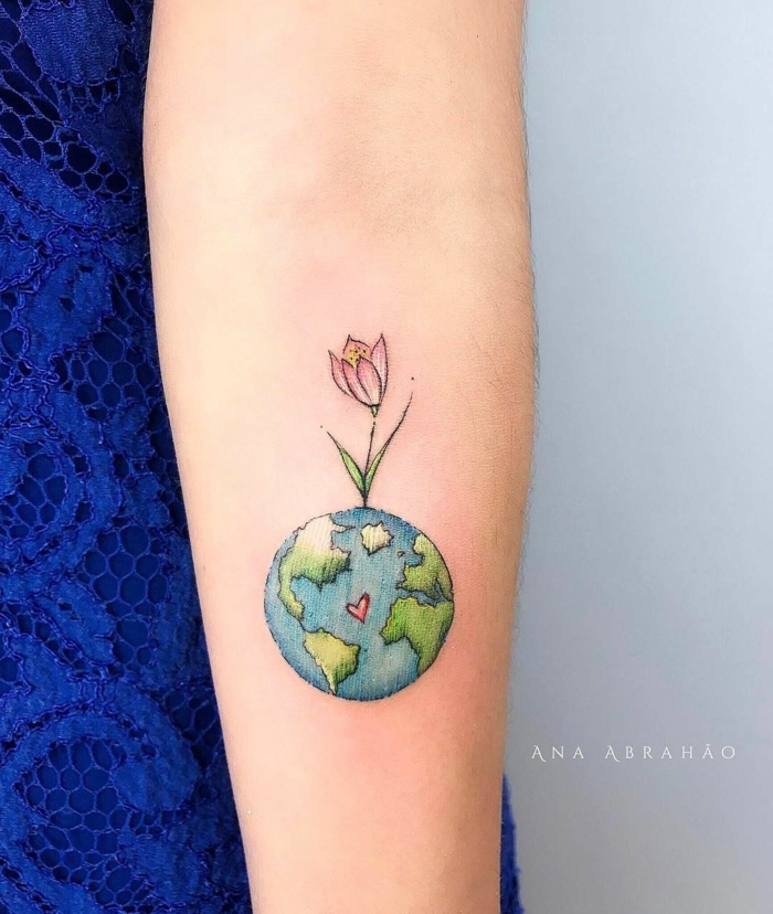 diseños de tatuajes con fuerte significado, tatuajes para los amantes de la naturaleza, bonitos diseños en colores