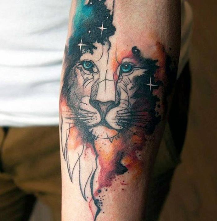 tatuajes con animales en acuarela, diseños de tattoos acuarelaas, impresionantes estilos de tatuajes