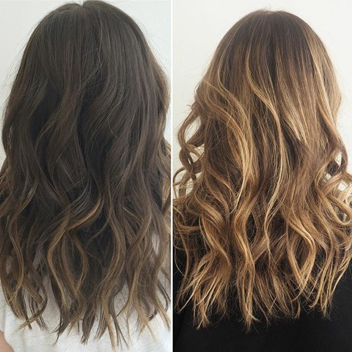color de pelo para morenas, bonitas fotos de melenas con mechas balayage antes y después