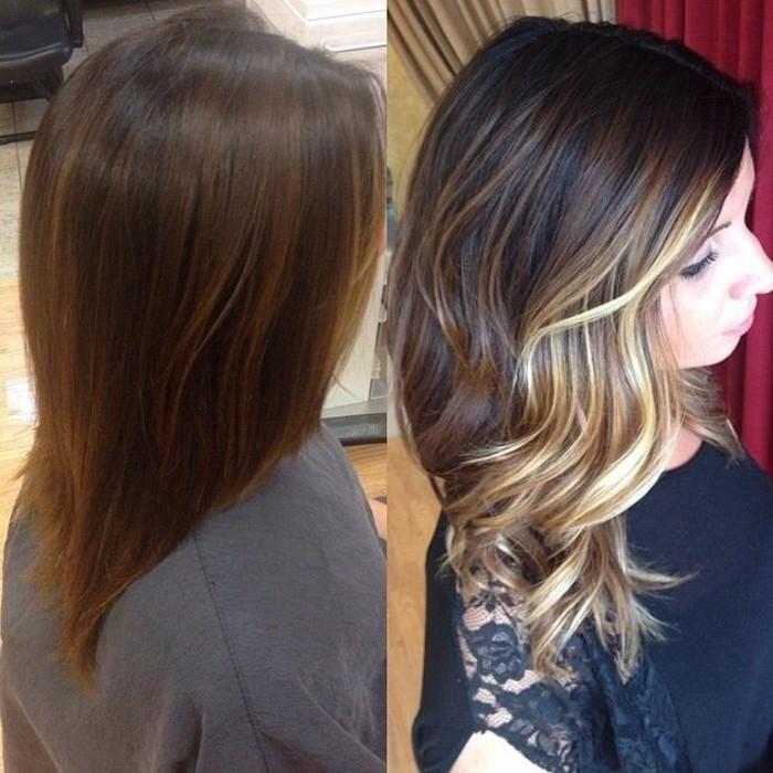 ejemplos de mechas balayage pelo corto y media melena, color de pelo para morenas