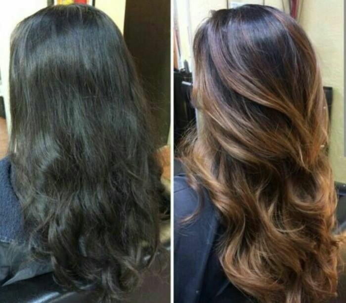 largo cabello con mechas color caramelo, magníficas ideas de mechas balayage morenas