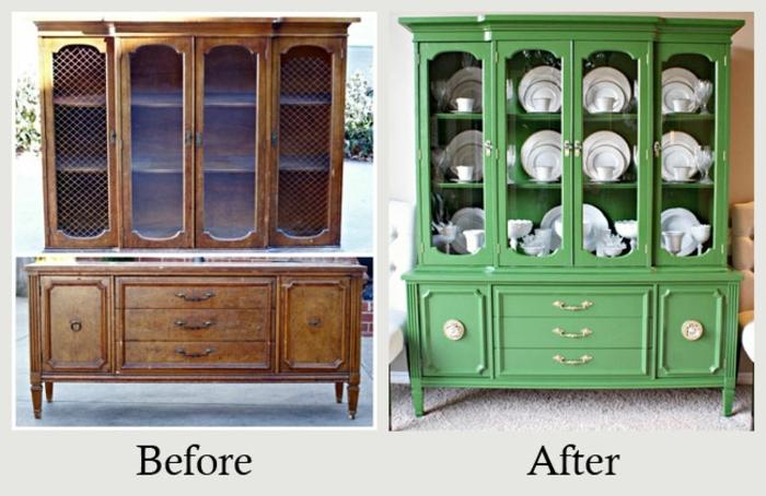 ideas sobre somo restaurar muebles de madera con fotos antes y después, cofre de madera pintado en verde
