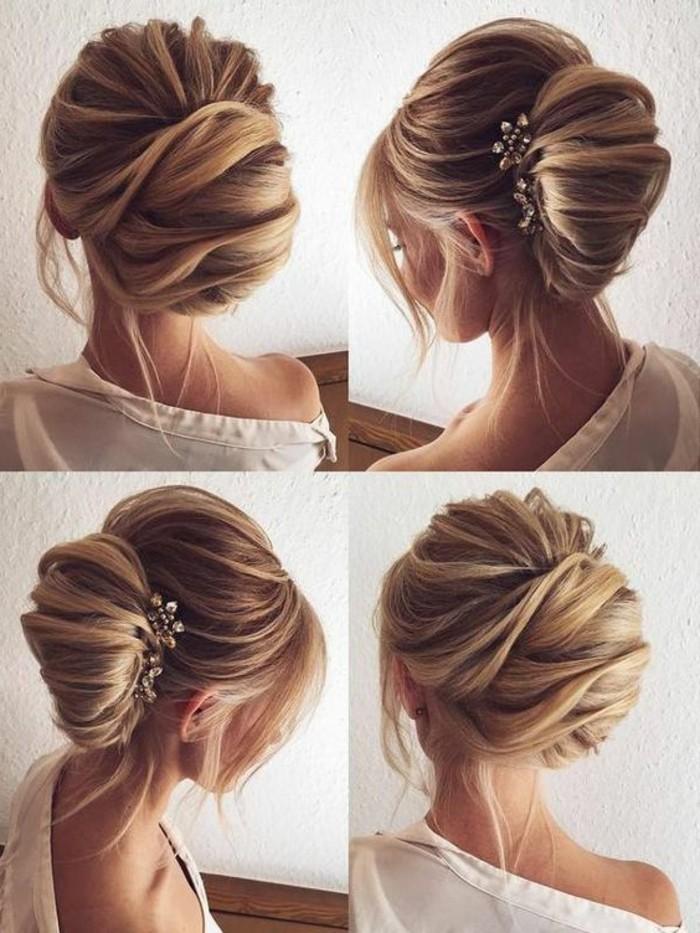 originales ideas de peinados de novia, bollos bonitos y originales paso a paso, peinados elegantes