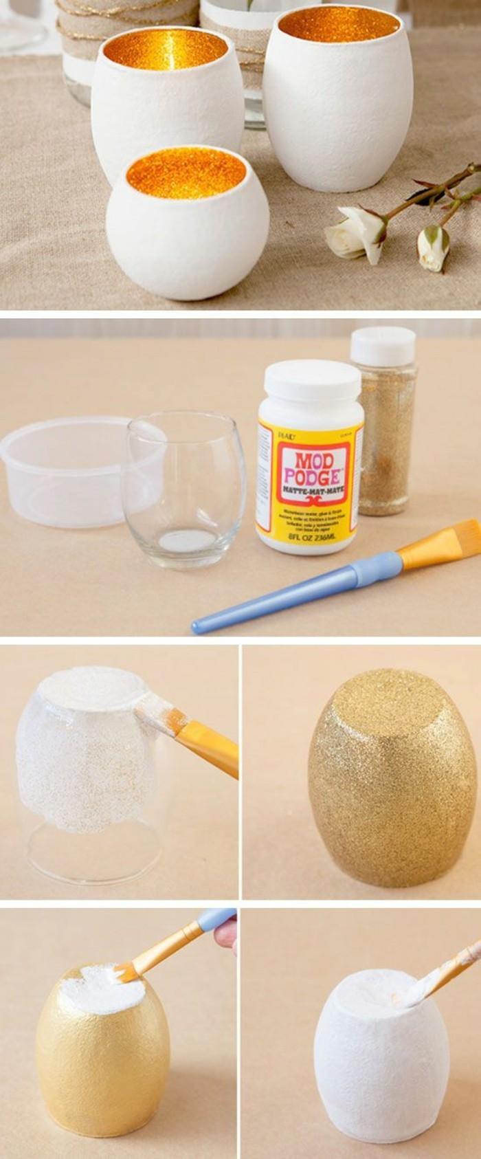 ideas para regalos de cumpleaños , precioso candelabro DIY en blanco y dorado, manualidades con Mod Podge