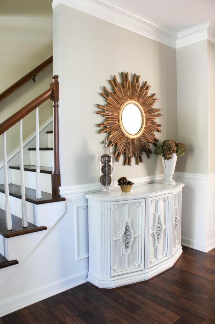 pasillo original y bonito en estilo vintage decorado en blanco, ideas de restaurar muebles de madera