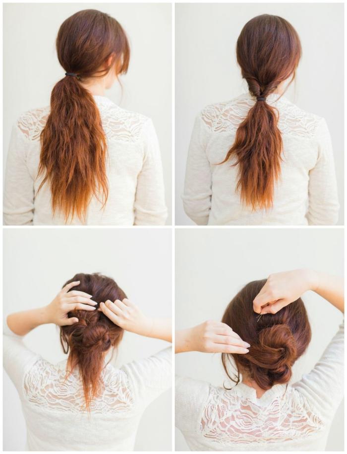 como hacer un moño fácil y original paso a paso, peinados faciles media melena y pelo largo