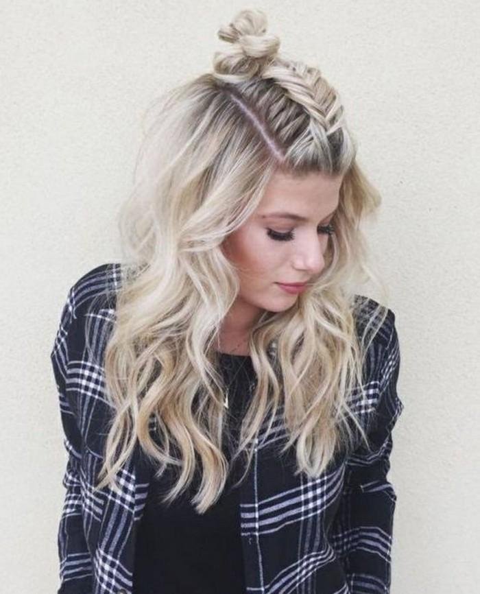 bonitas ideas de peinados pelo suelto, ejemplos de peinados de moda con trenzas, peinados cabello largo
