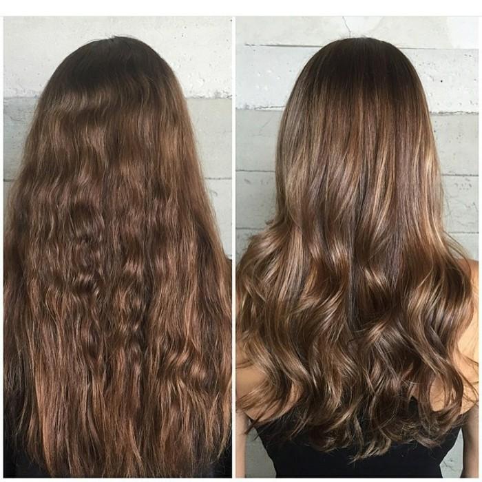 larga melena con reflejos en el pelo, fotos de cabelleras antes y después las mechas balayge