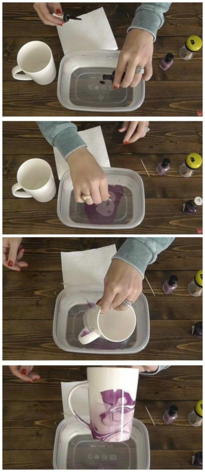 tazas DIY decoradas con esmalte de uñas, magníficas ideas de manualidades para regalar