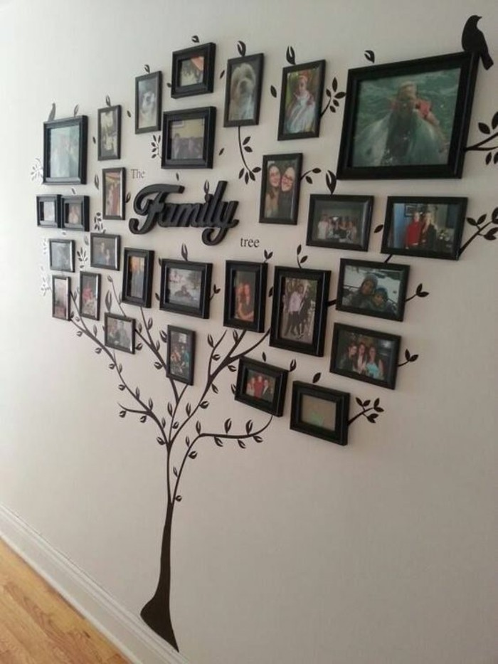 como decorar una pared, originales propuestas de decoracion con fotos, árbol familiar en la pared