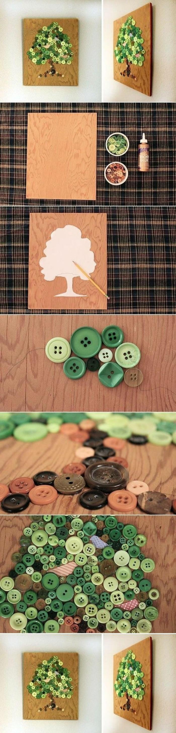 cuadro decorativo con materiales reciclados, pequeño cuadro decorado con botones reciclados