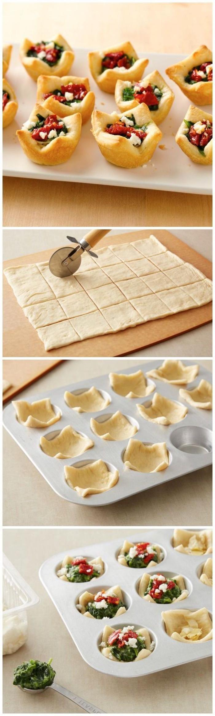 canapes vegetarianos ricos y fáciles de hacer, como hacer tartaletas saladas paso a paso