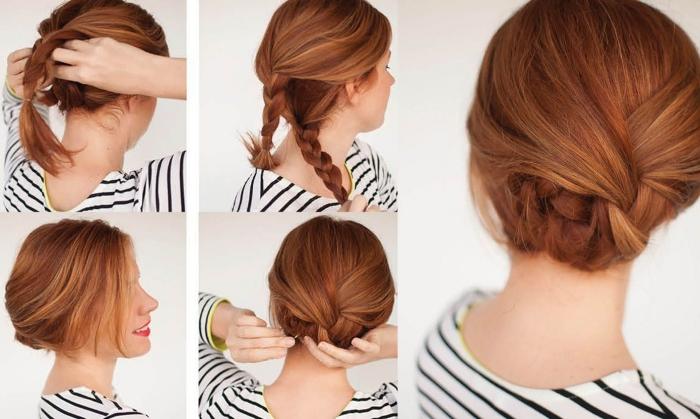 peinados con trenzas faciles con tutoriales, ideas de recogidos con trenzas super sencillos