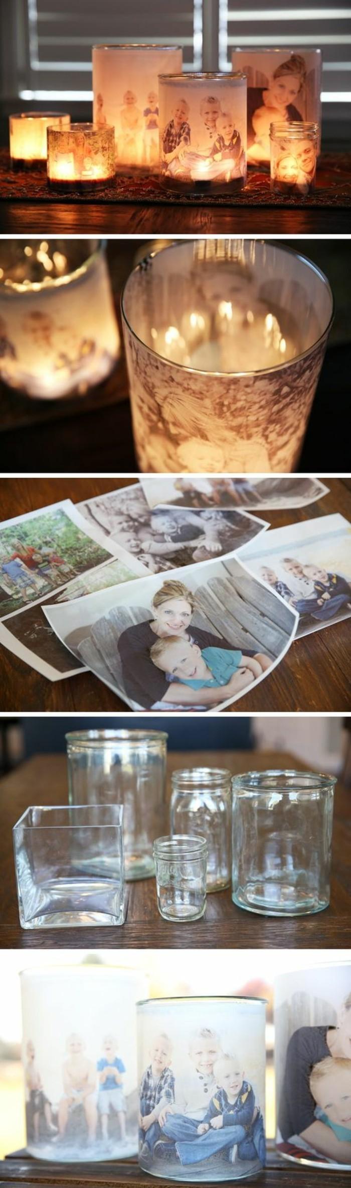 ideas de regalos para la familia, candelabros DIY super originales con fotos, regalos personalizados ideas