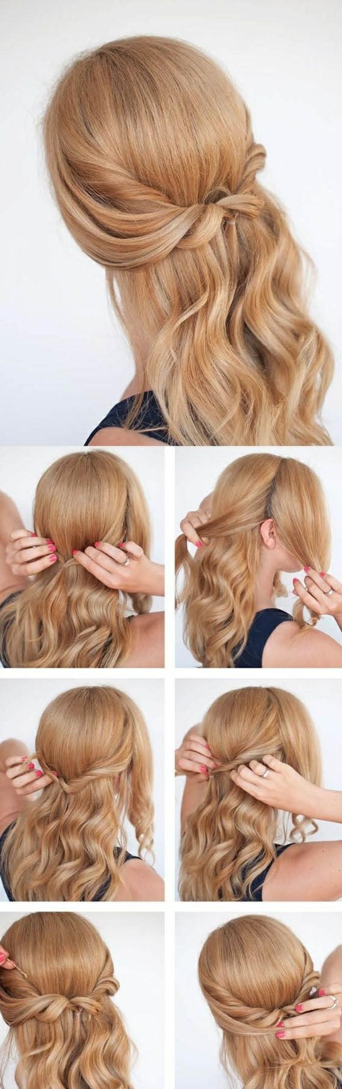 ideas de peinados con trenzas faciles paso a paso, semirecogido con trenza cabello ondulado