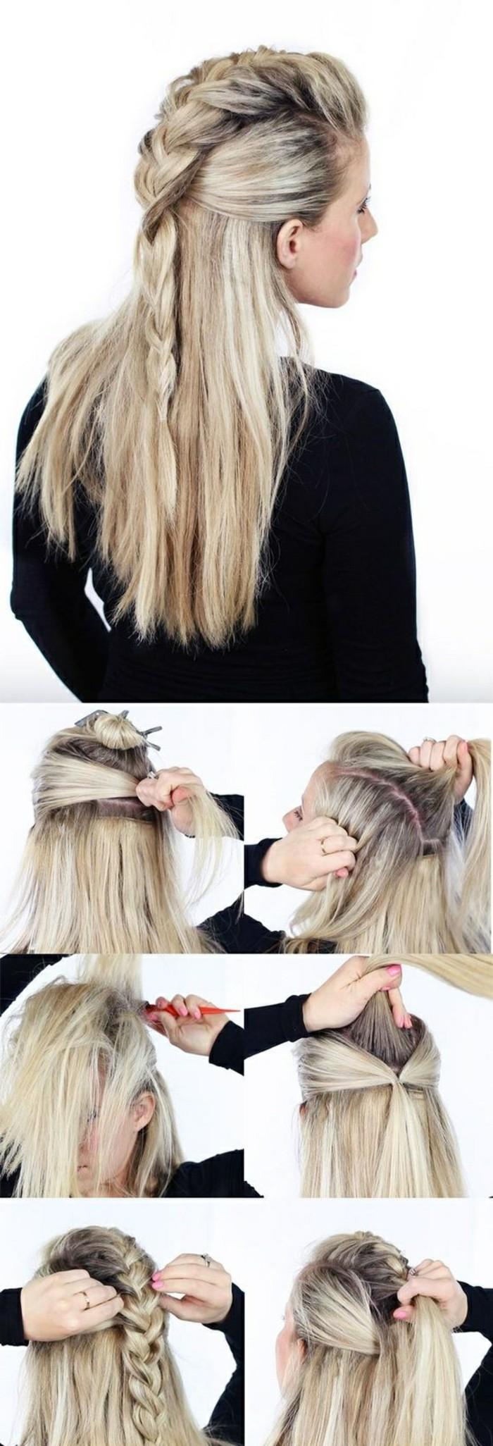 recogido con trenzas paso a paso, peinados faciles y rapidos, cabello largo liso con bonita trenza