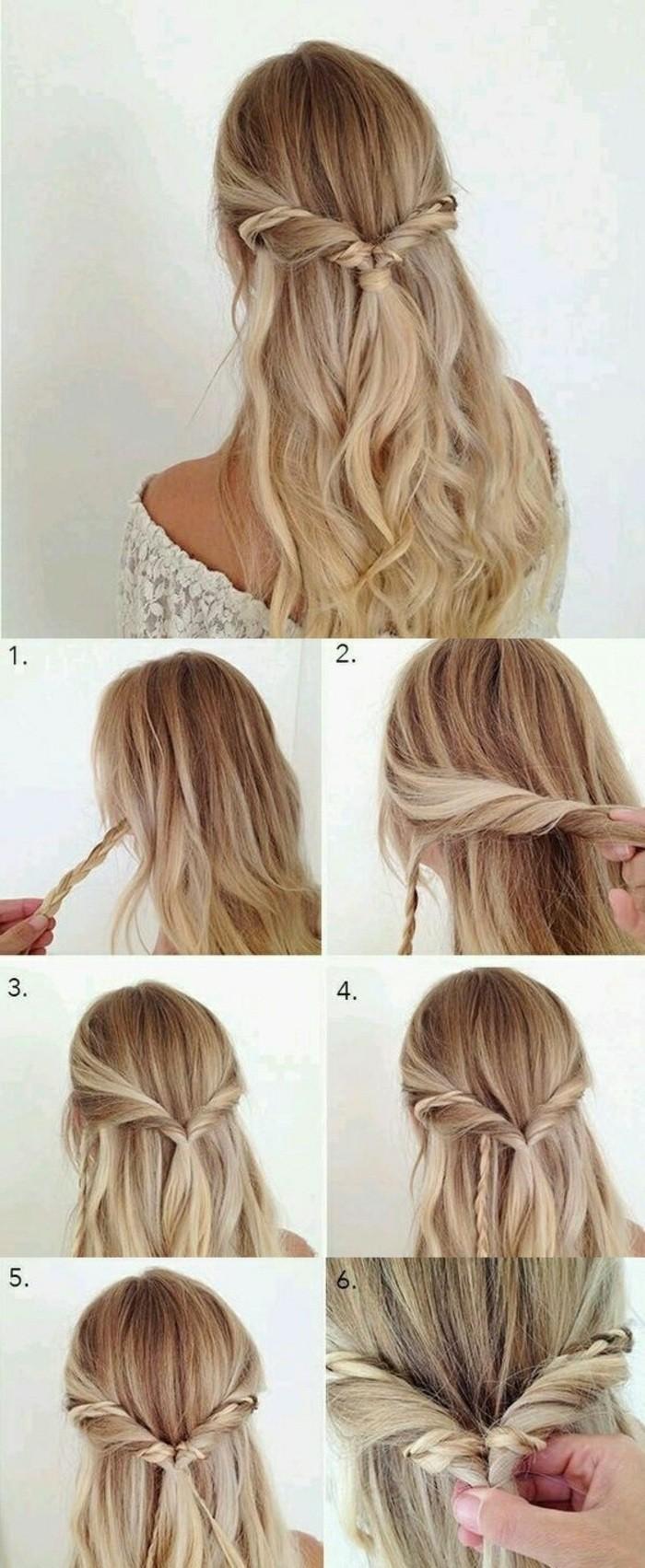 semirecogidos bonitos y elegantes paso a paso, ideas de peinados cabello largo, semirecogido pelo ondulado