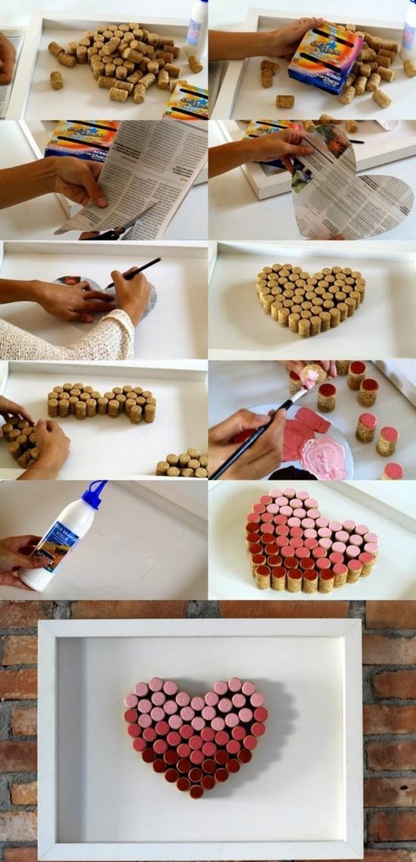 ideas de regalos para san valentin hechos a mano, corazón de tapas de corcho, manualidades para sorprender a tu pareja