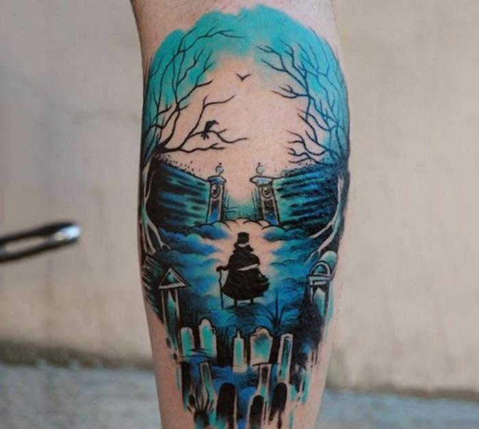 tatuajes bonitos en colores, diseño único en color azul, los mejores diseños de tatuajes