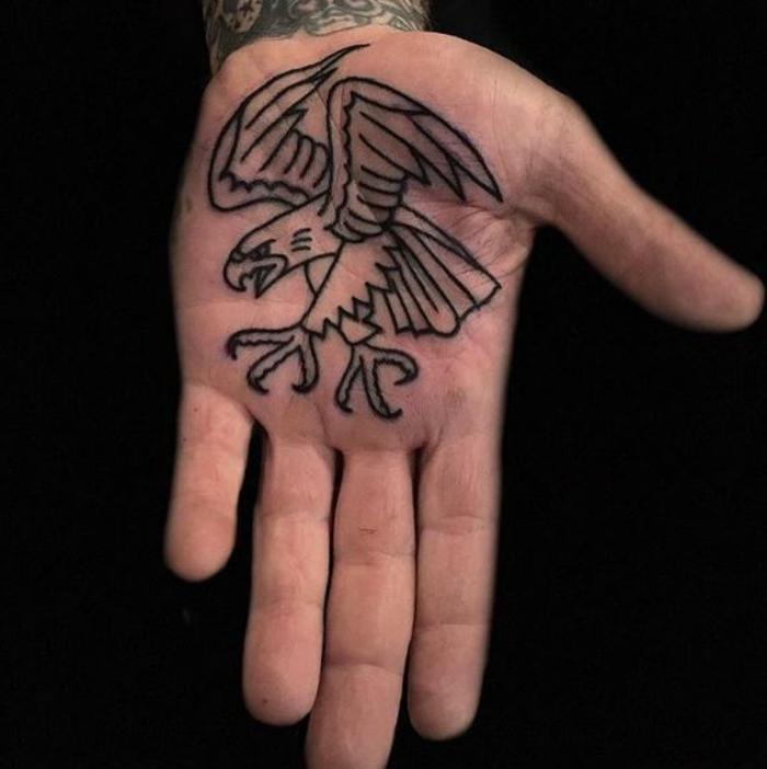 tatuajes en la palmera originales, tattoo de aguila en la palma, diseños para hombres y mujeres