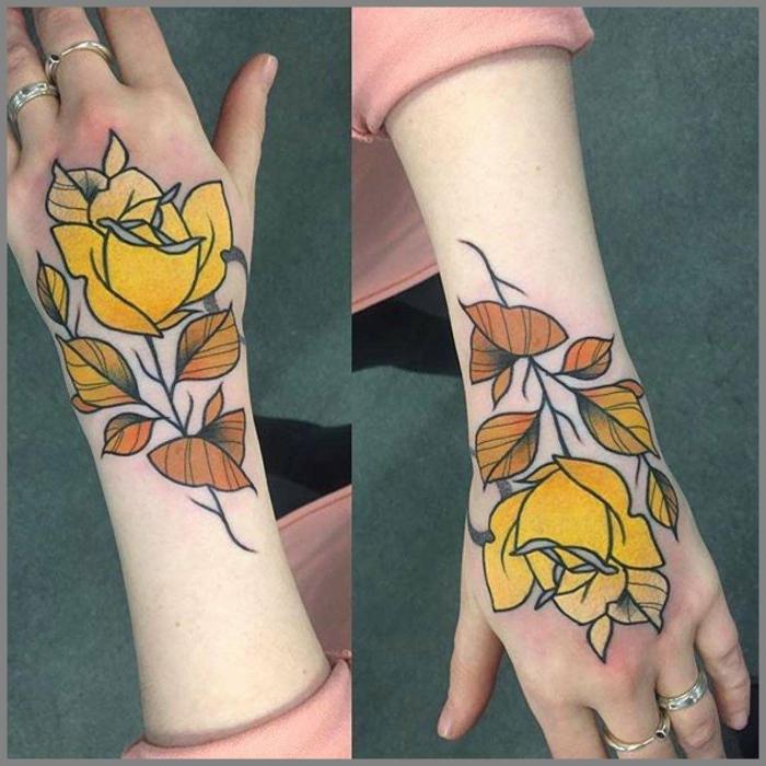 coloridos diseños de tatuajes en la mano y en el antebrazo, tatuajes con flores coloridos