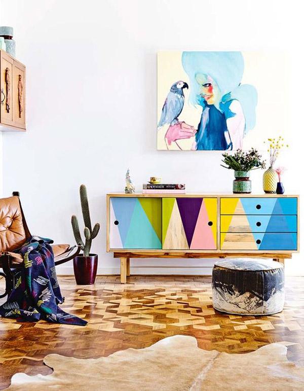 como pintar un mueble de melamina de manera original, decoración muebles en colores vibrantes, salón decorado con mucho estilo
