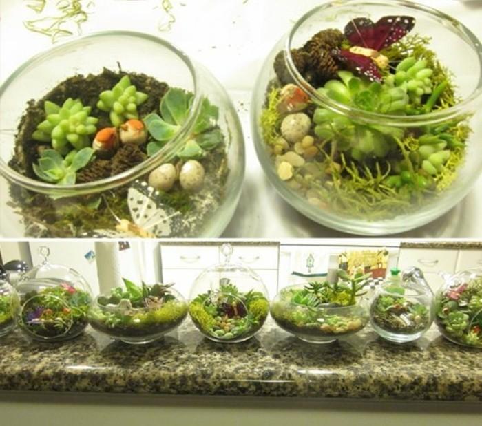 terrarios hechos a mano con cactus y plantas suculentas, super originales propuestas de manualidades para regalar a mi novio