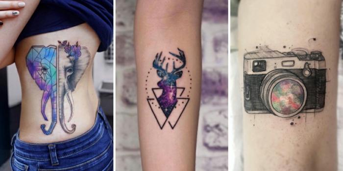 tres tipos de tatuajes en acuarela, tipos de tatuajes para hombres y mujeres, diseños de tatuajes originales