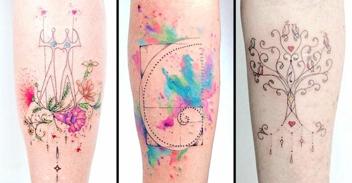 tres precioso diseños de tatuajes con ornamentos y motivos florales, colores acuarela únicos