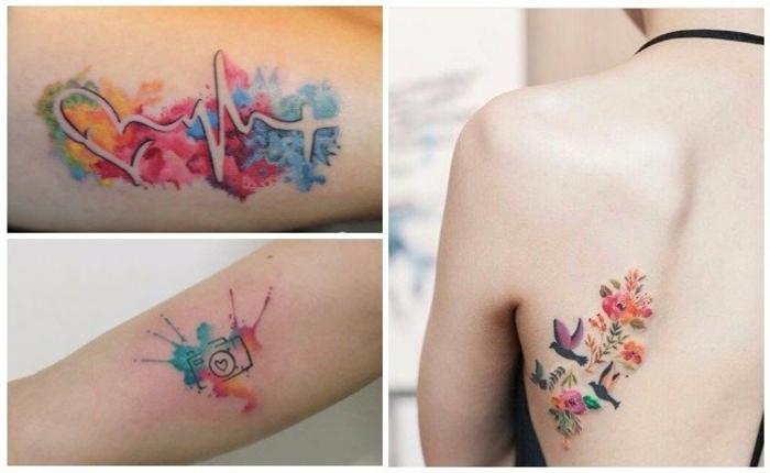 tatuajes pequeños en acuarela, diseños de tatuajes únicos para hombres y mujeres en 90 imagines