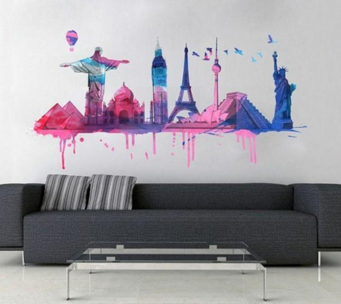 vinilos de pared super originales para tu salón, salón moderno con sofá color gris, vinilo colorido