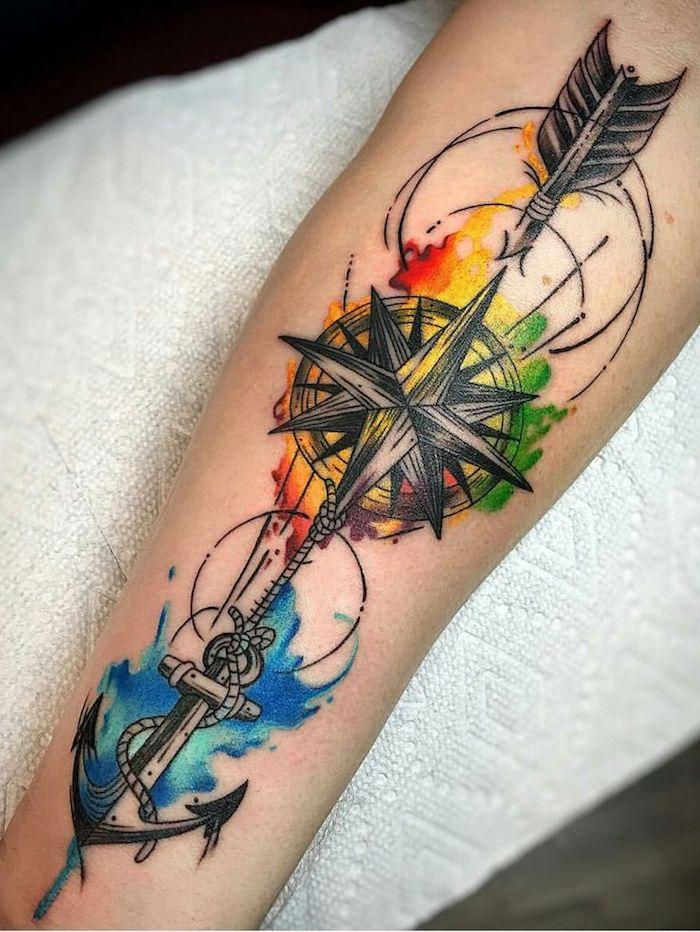 diseño de tatuaje antebrazo en colores, tatuaje simbolico en colores llamativos, tatuajes en estilo old school con anclas