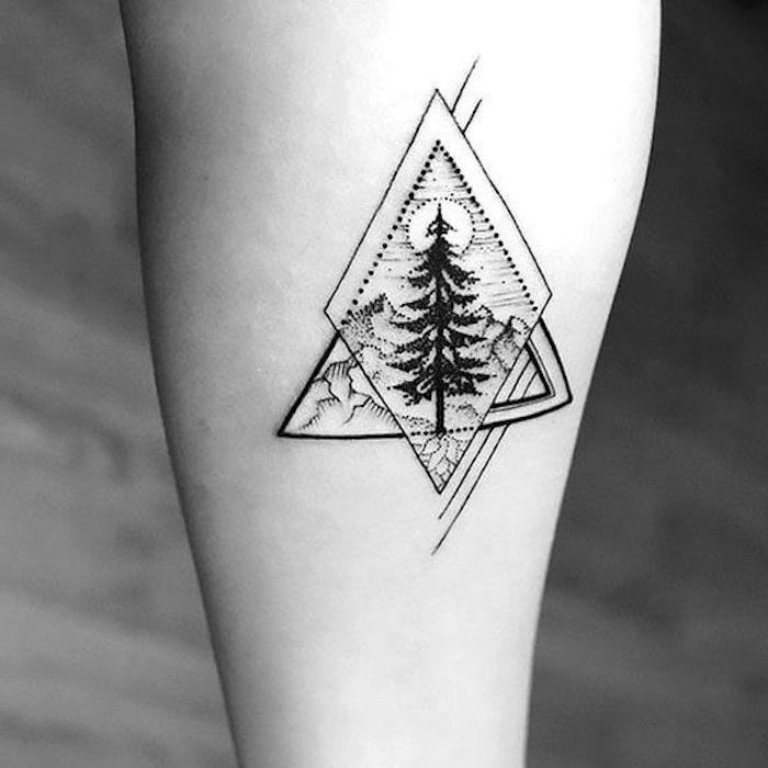 diseños de tatuajes en el antebrazo, pequeños tatuajes para los amantes de la naturaleza, tattoos geométricos originales