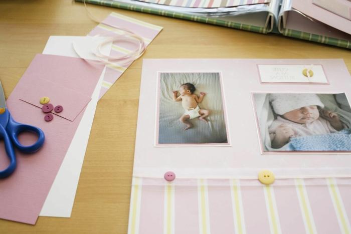 como hacer un album de recortes para bebe paso a paso, regalos originales para recién nacidos, scrapbook bonito hecho a mano