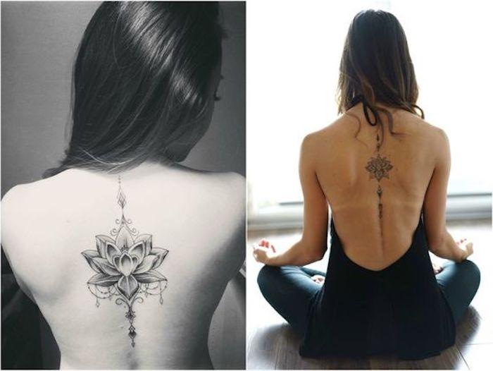tatuajes con flor de loto, ideas de diseños de tattoos en la espina dorsal, tatuajes con significado bonitos para hombres y mujeres