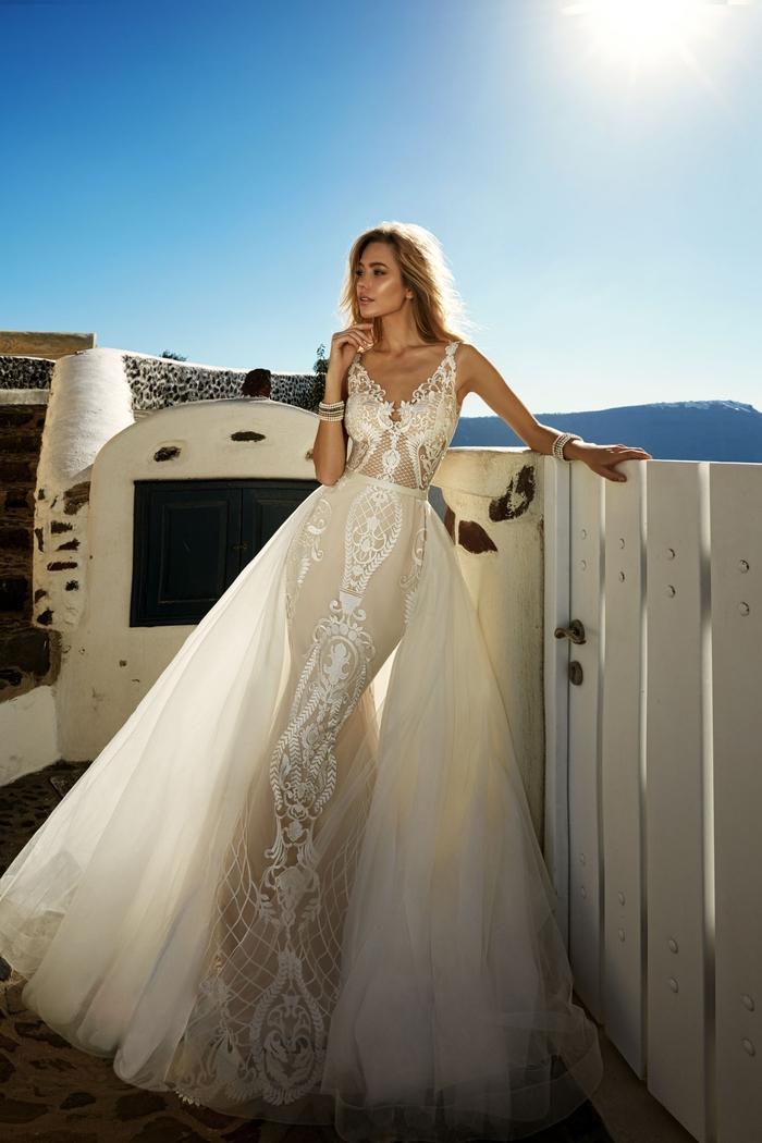 adorable vestido en color blanco, vestido únicos de dos partes, vestidos de novia 2019 bonitos y originales, falda de tul super elegante