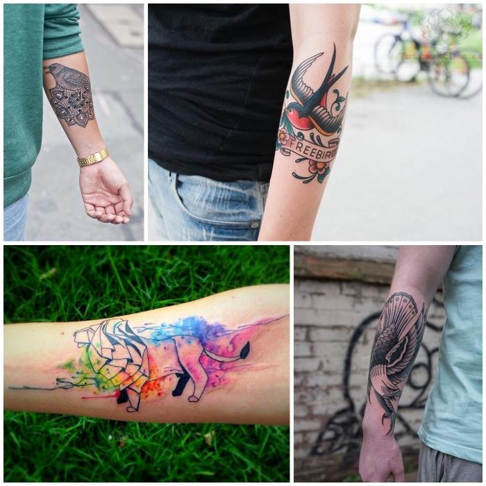 4 bonitos diseños de tatuajes en el antebrazo para hombres, tatuaje antebrazo con elementos simbolicos, tattoos old school