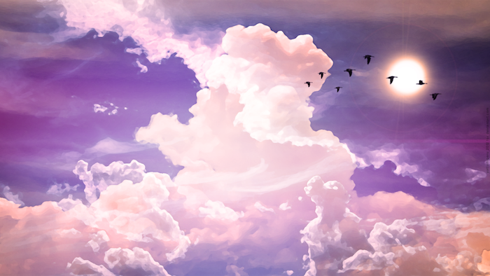 magníficas fotos para tu fondo de pantalla, dibujo bonito en colores, cielo nubloso y aves en pleno vuelo, imagines tumblr inspiradores