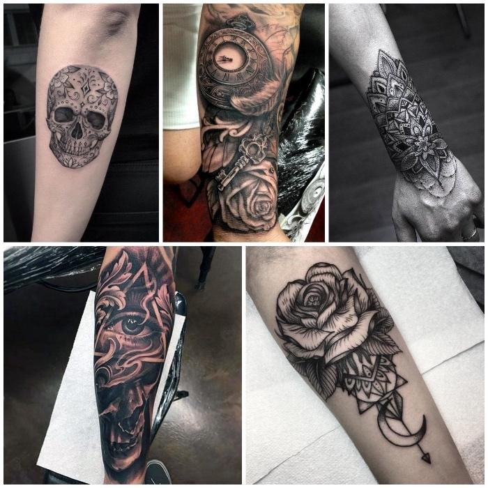 cinco atractivos diseños de tatuajes en el antebrazo, tatuaje antebrazo con elementos simbolicos, calaveras, motivos florales