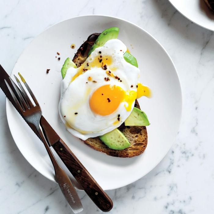 tostada con aguacate y huevos fritos, desayunos saludables y fáciles de hacer en imagines, dieta equilibrada y saludable