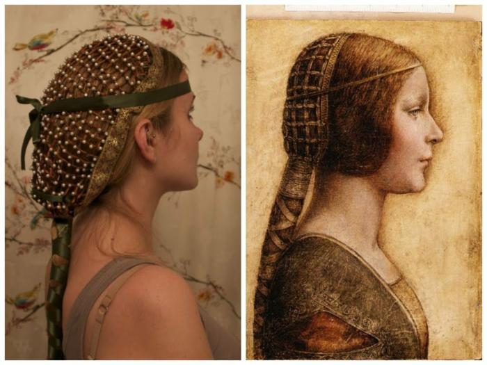 cuáles son los más originales peinados medievales para pelo largo, cabellera larga color rubio oscuro con bonito adorno