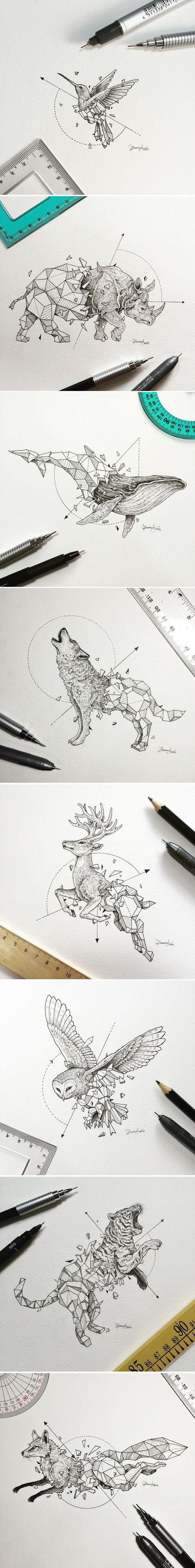 fotos de los mejores diseños de tatuajes geométricos, tatuajes de animales con su significado, tattoos geométricos de diseño super original