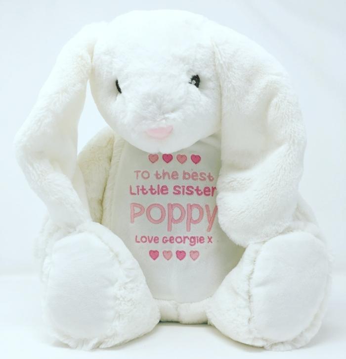 adorables peluches para regalar a un pequeño bebé, regalos originales para recién nacidos, peluche conejo, regalos hermana pequeña