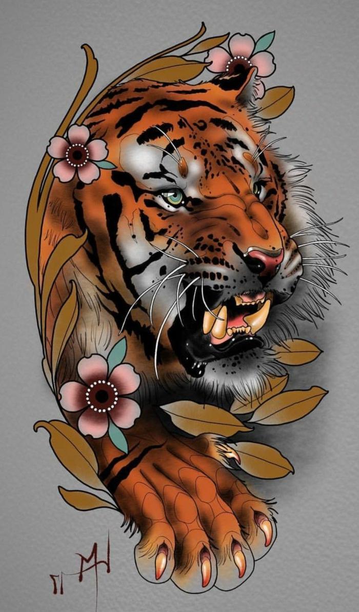 ideas originales de diseños de tatuajes de japon, maravillosas ideas de tattoos coloridos con motivos japoneses, tatuaje tigre flores
