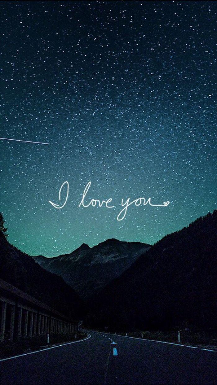 fondos de pantalla con frases románticas, paisaje natural con carretera con letras de amor, fondos de pantalla tumblr