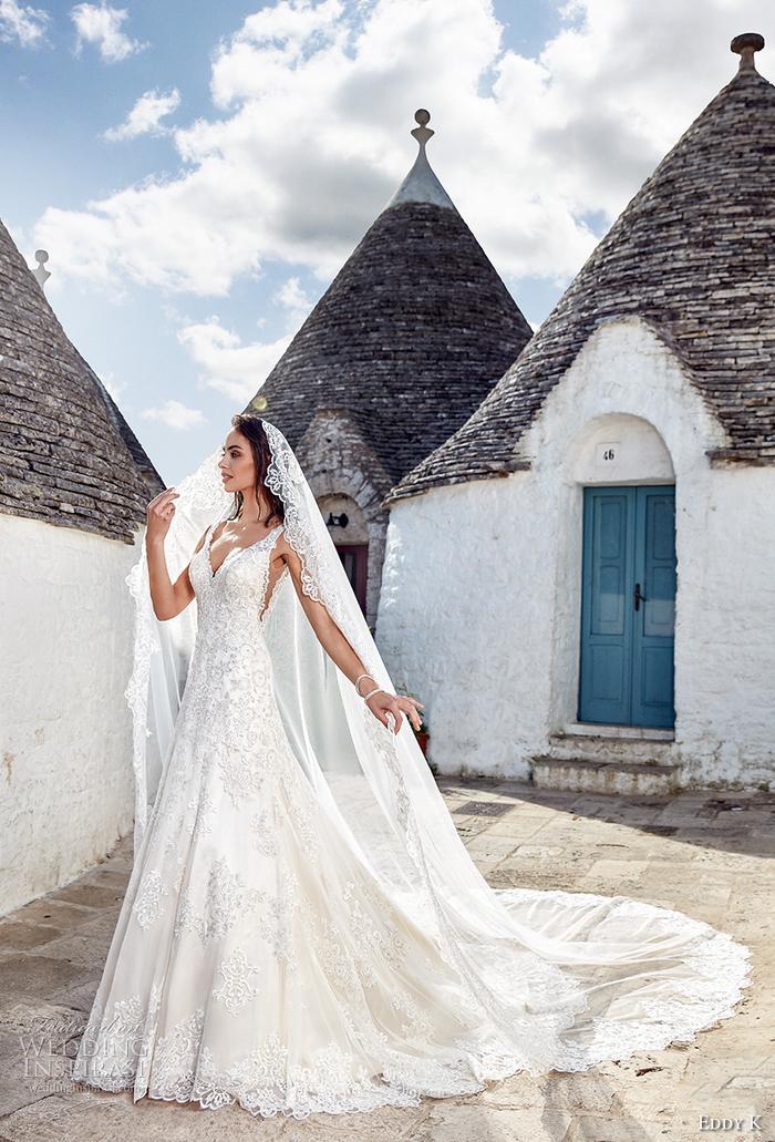 los vestidos de novia estilo princesa más bonitos, precioso vestido en color blanco pulcro hecho de encaje con bordados