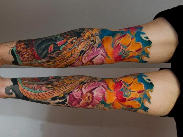 tatuajes en el antebrazo coloridos, diseños de tatuajes con elementos japoneses, tatuajes brazo hombre super originales